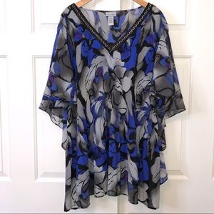 Catherines Gray and Blue Floral Blouse